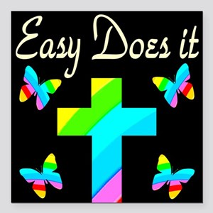 "EASY DOES IT Square Car Magnet 3"" x 3"""